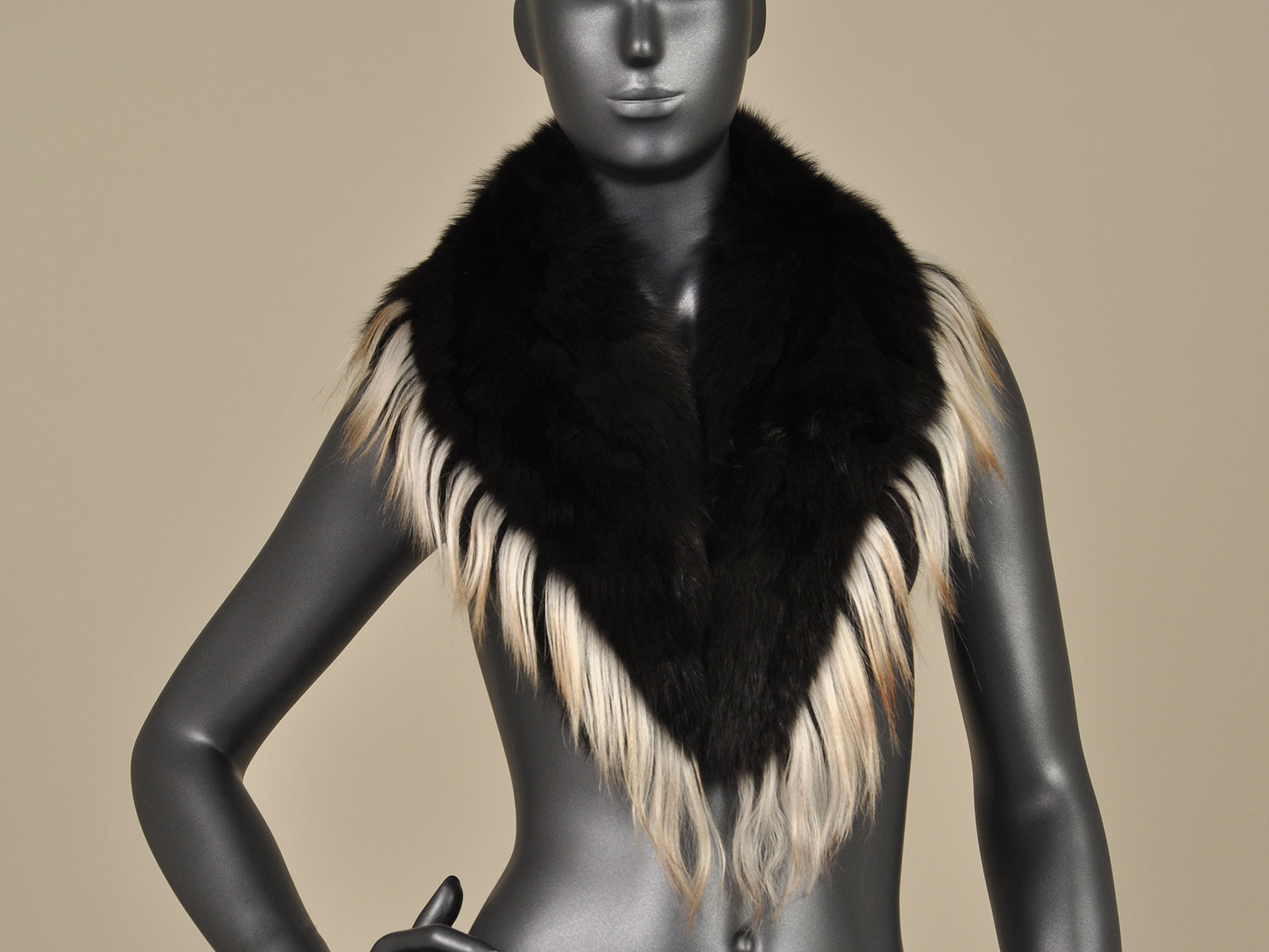 black fox collar with goat fur trim