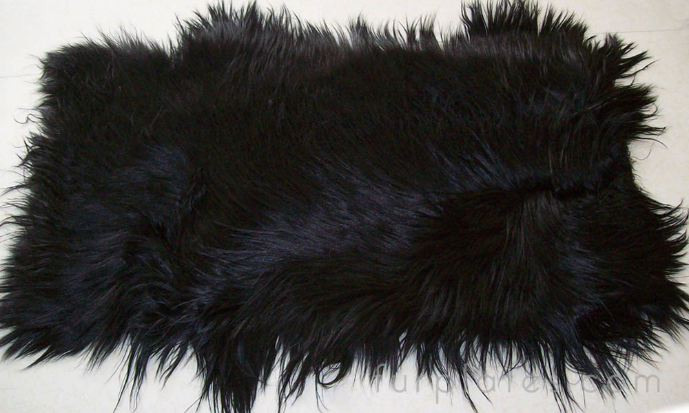 black kidassia long hair goat fur plate