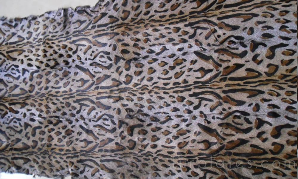 leopard cat printed kid goat fur plate