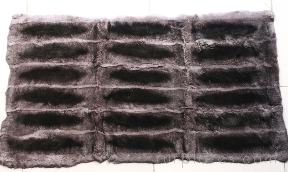 rex rabbit plate dyed dark gray chinchilla color
